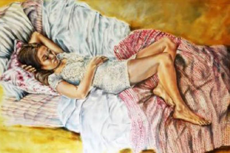 Maleri fra Maleribasen.dk af sovende kvinde