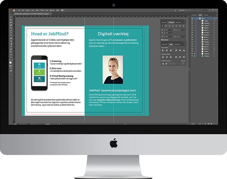 Screenshot af Adobe Illustrator med åben brochure der redigeres