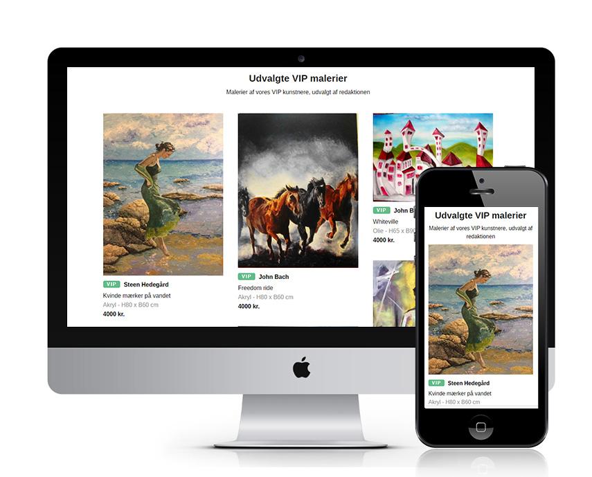 Screenshots af Maleribasen.dk med malerier på computer og mobiltelefon