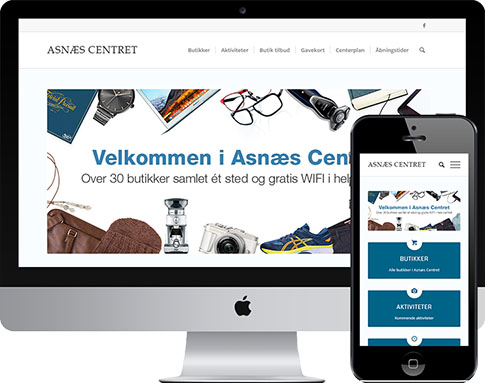 Screenhot af Asnæs Centrets responsive hjemmeside